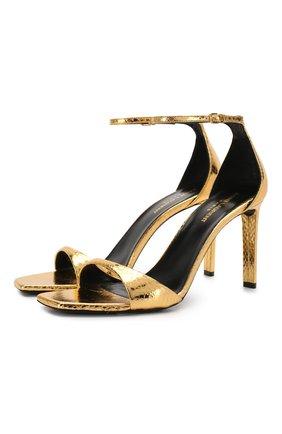 Женские кожаные босоножки bea SAINT LAURENT золотого цвета, арт. 612329/EXV00 | Фото 1
