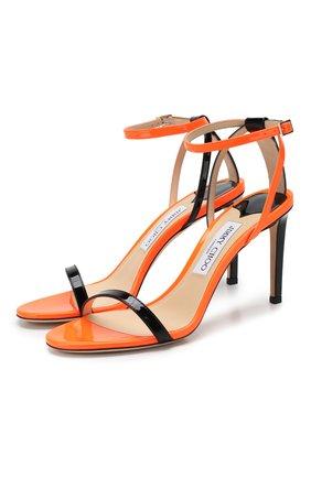 Женские кожаные босоножки minny 85 JIMMY CHOO оранжевого цвета, арт. MINNY 85/WNN | Фото 1