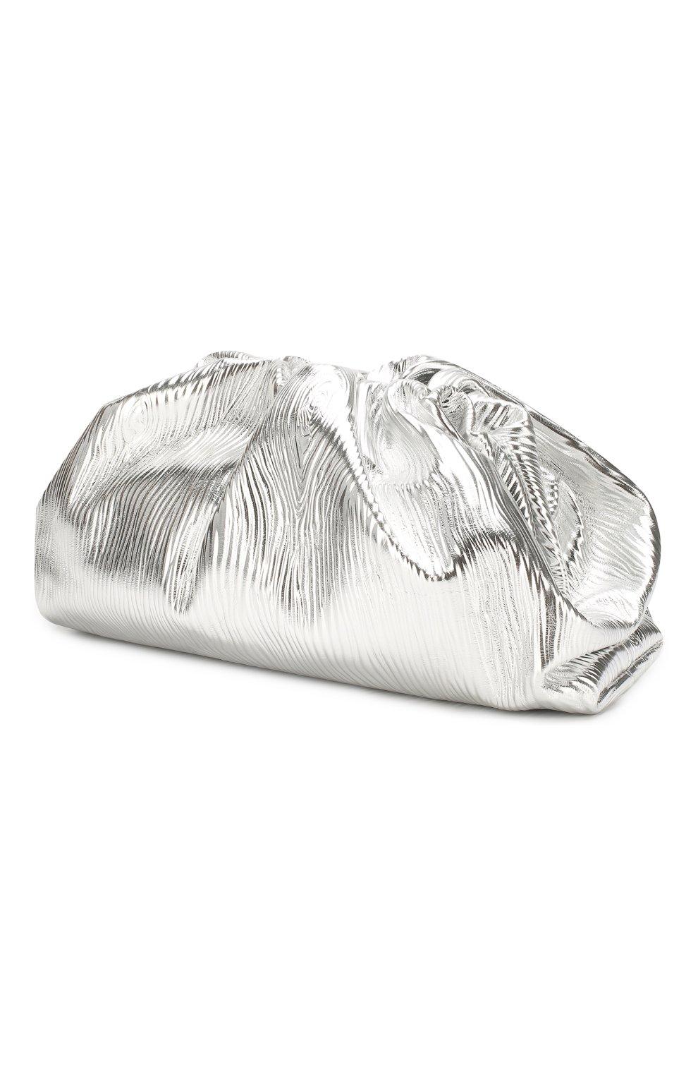 Женский клатч pouch BOTTEGA VENETA серебряного цвета, арт. 618128/VCQ60 | Фото 3 (Женское Кросс-КТ: Вечерняя сумка, Клатч-клатчи; Материал: Натуральная кожа; Размер: large)