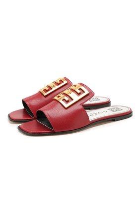 Женские кожаные шлепанцы 4g GIVENCHY красного цвета, арт. BE303AE05V   Фото 1