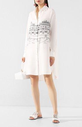 Женские кожаные шлепанцы 4g GIVENCHY белого цвета, арт. BE303AE05W   Фото 2