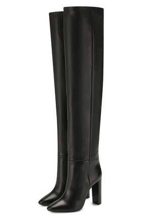 Женские кожаные ботфорты 76 SAINT LAURENT черного цвета, арт. 620182/1F200 | Фото 1