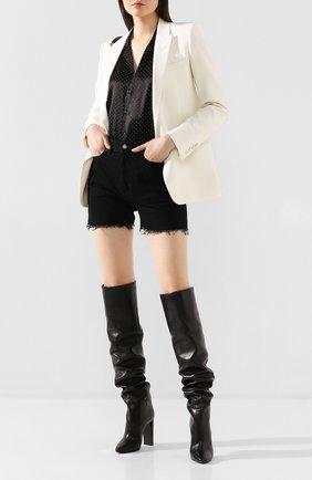 Женские кожаные ботфорты 76 SAINT LAURENT черного цвета, арт. 620182/1F200 | Фото 2