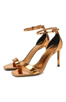 Женские кожаные босоножки amber SAINT LAURENT золотого цвета, арт. 487535/AAL00 | Фото 1