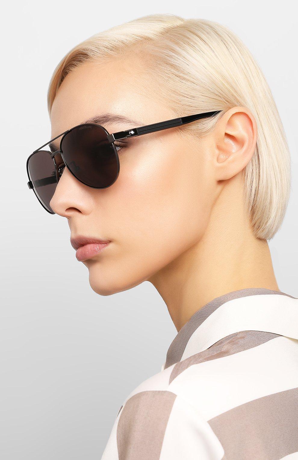 Женские солнцезащитные очки MONTBLANC черного цвета, арт. MB0032 001 | Фото 2