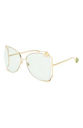 Женские солнцезащитные очки GUCCI голубого цвета, арт. GG0252 012   Фото 1
