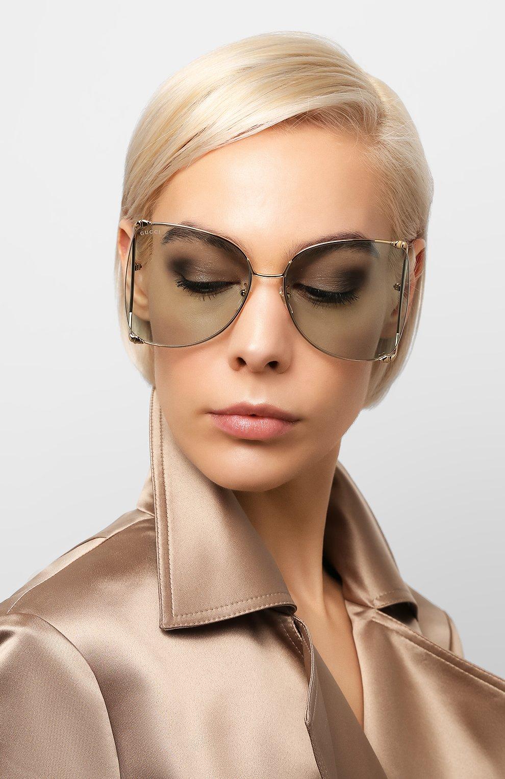 Женские солнцезащитные очки GUCCI голубого цвета, арт. GG0252 012   Фото 2