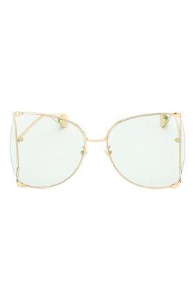 Женские солнцезащитные очки GUCCI голубого цвета, арт. GG0252 012   Фото 3