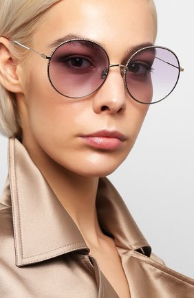 Женские солнцезащитные очки DIOR сиреневого цвета, арт. DI0RS0CIETY2F 3YG   Фото 2 (Тип очков: С/з; Очки форма: Круглые; Оптика Гендер: оптика-женское)