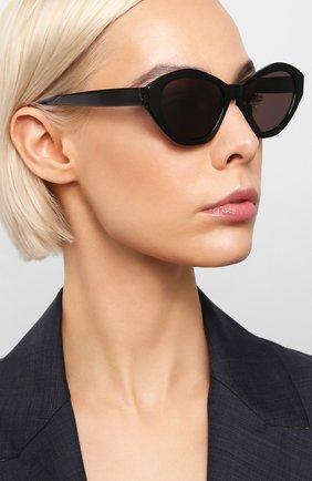 Женские солнцезащитные очки SAINT LAURENT черного цвета, арт. SL M60 001 | Фото 2