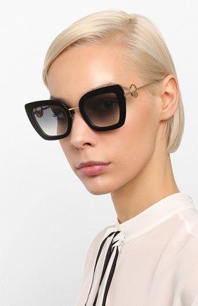 Женские солнцезащитные очки FENDI черного цвета, арт. 0408 807   Фото 2