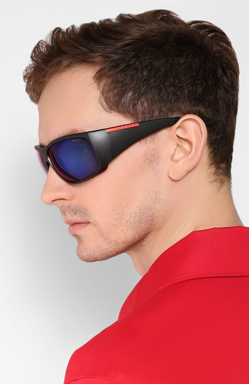 Мужские солнцезащитные очки PRADA LINEA ROSSA черного цвета, арт. 04VS-1B09Q1   Фото 2