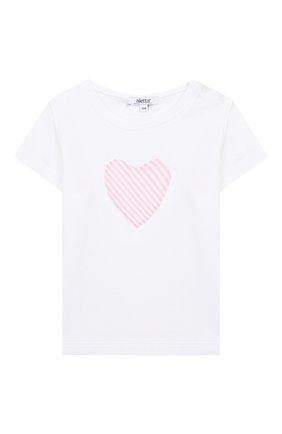 Детский хлопковая футболка ALETTA белого цвета, арт. RF00313/1M-2A | Фото 1