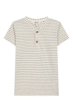 Детский хлопковая футболка ALETTA бежевого цвета, арт. RZ00241MC/1M-2A | Фото 1