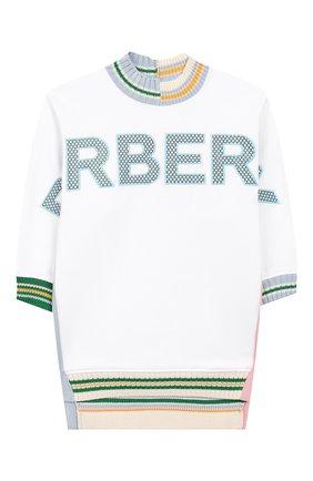 Детский удлиненный свитшот BURBERRY белого цвета, арт. 8028422 | Фото 1