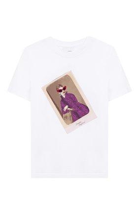 Детская хлопковая футболка BURBERRY белого цвета, арт. 8026552 | Фото 1
