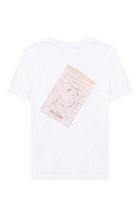 Детская хлопковая футболка BURBERRY белого цвета, арт. 8026552 | Фото 2