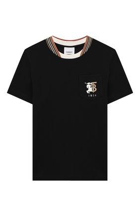 Детская хлопковая футболка BURBERRY черного цвета, арт. 8026254 | Фото 1
