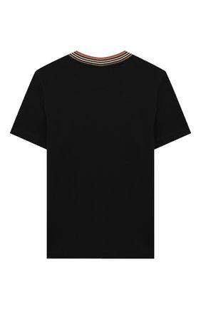 Детская хлопковая футболка BURBERRY черного цвета, арт. 8026254 | Фото 2