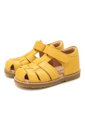Детские кожаные босоножки PETIT NORD желтого цвета, арт. 2543/19-24 | Фото 1