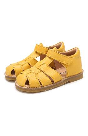 Детские кожаные босоножки PETIT NORD желтого цвета, арт. 2543/25-30 | Фото 1