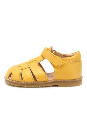Детские кожаные босоножки PETIT NORD желтого цвета, арт. 2543/25-30 | Фото 2