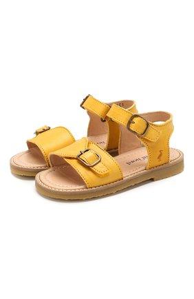 Детские кожаные сандалии PETIT NORD желтого цвета, арт. 2553/23-28   Фото 1