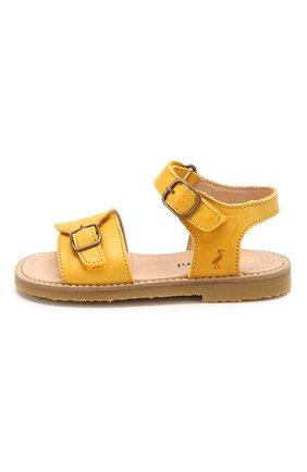 Детские кожаные сандалии PETIT NORD желтого цвета, арт. 2553/23-28   Фото 2