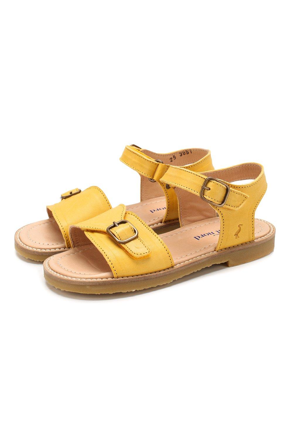 Детские кожаные сандалии PETIT NORD желтого цвета, арт. 2553/29-35 | Фото 1 (Материал внешний: Кожа; Материал внутренний: Натуральная кожа)
