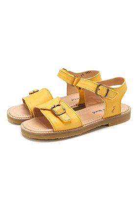 Детские кожаные сандалии PETIT NORD желтого цвета, арт. 2553/29-35 | Фото 1