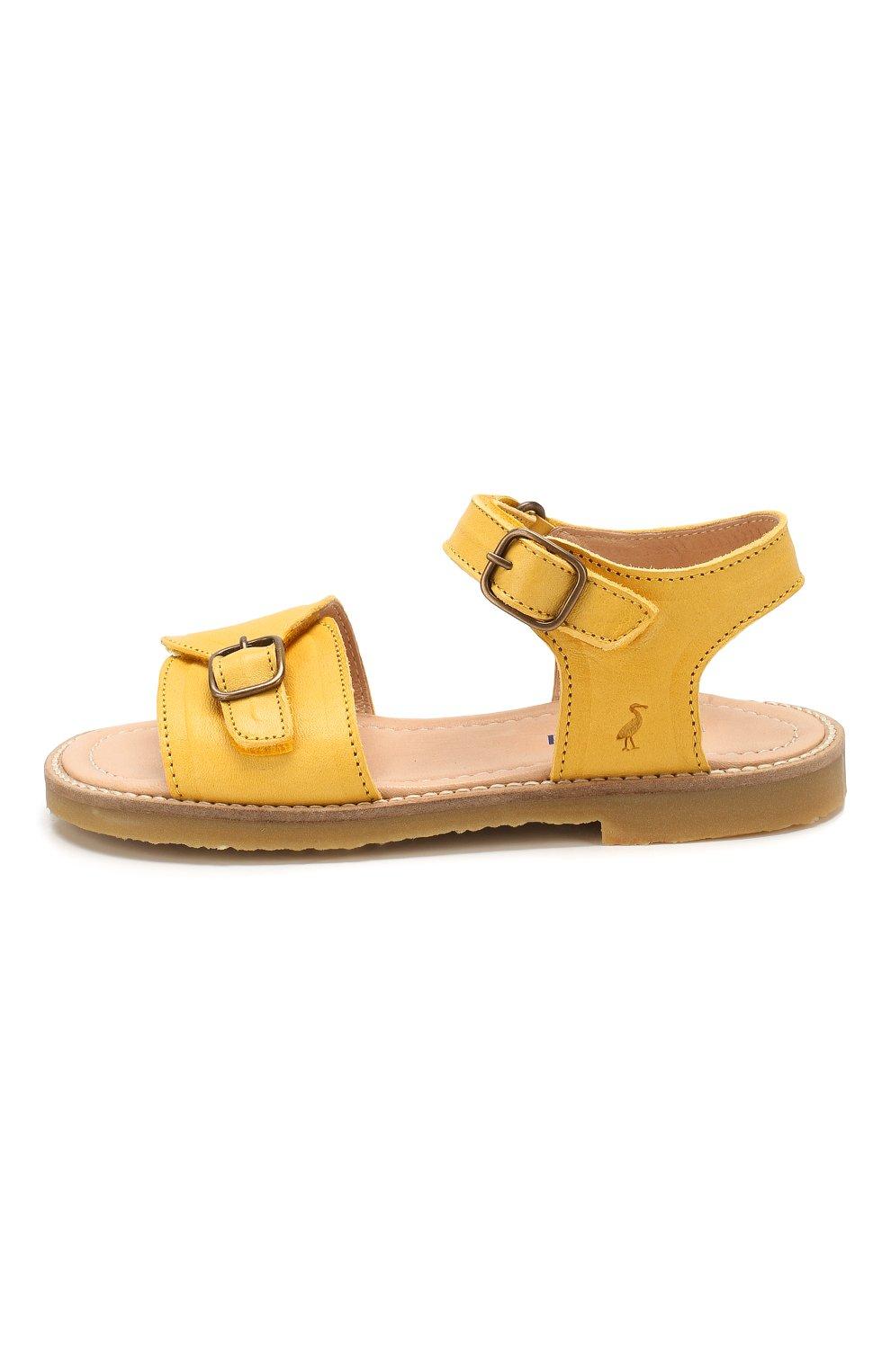 Детские кожаные сандалии PETIT NORD желтого цвета, арт. 2553/29-35 | Фото 2 (Материал внешний: Кожа; Материал внутренний: Натуральная кожа)