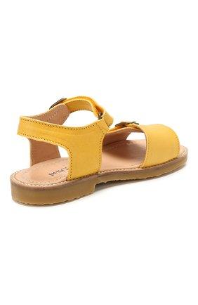 Детские кожаные сандалии PETIT NORD желтого цвета, арт. 2553/29-35 | Фото 3 (Материал внешний: Кожа; Материал внутренний: Натуральная кожа)