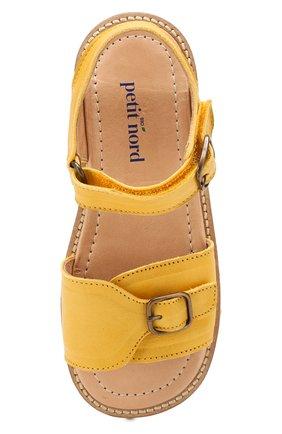 Детские кожаные сандалии PETIT NORD желтого цвета, арт. 2553/29-35 | Фото 4 (Материал внешний: Кожа; Материал внутренний: Натуральная кожа)