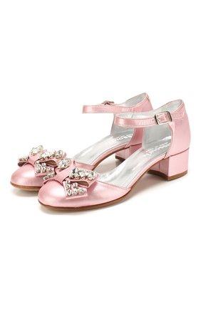 Детские кожаные туфли MISSOURI розового цвета, арт. 78046/27-30 | Фото 1