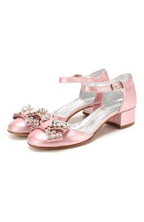 Детские кожаные туфли MISSOURI розового цвета, арт. 78046/35-41 | Фото 1