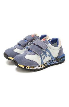 Детские кожаные кроссовки PREMIATA WILL BE синего цвета, арт. LUCY V/1119/T0D   Фото 1