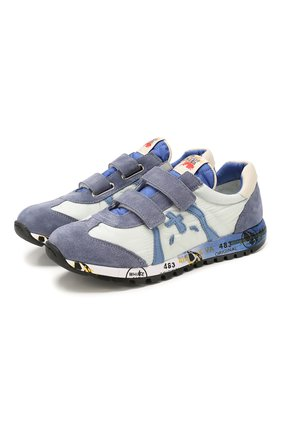 Детские кожаные кроссовки PREMIATA WILL BE синего цвета, арт. LUCY V/1119/JUN   Фото 1