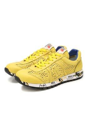Детские кожаные кроссовки PREMIATA WILL BE желтого цвета, арт. LUCY/1432/JUN   Фото 1
