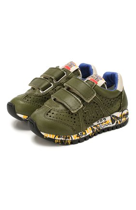 Детские кожаные кроссовки PREMIATA WILL BE хаки цвета, арт. LUCY V/1390/T0D   Фото 1
