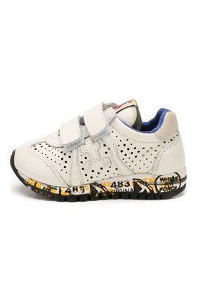 Детские кожаные кроссовки PREMIATA WILL BE белого цвета, арт. LUCY V/1217/T0D | Фото 2 (Материал внутренний: Натуральная кожа; Кросс-КТ: велькро)