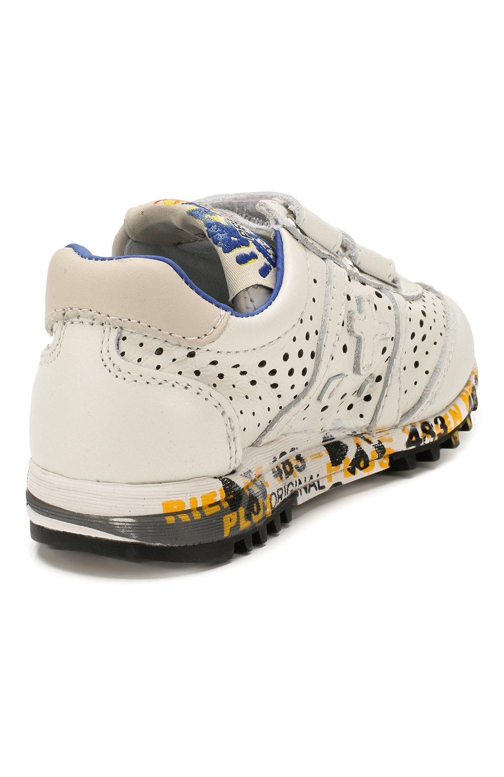 Детские кожаные кроссовки PREMIATA WILL BE белого цвета, арт. LUCY V/1217/T0D | Фото 3 (Материал внутренний: Натуральная кожа; Кросс-КТ: велькро)