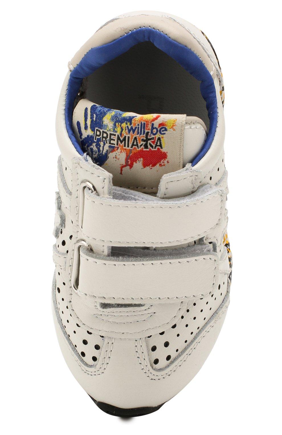 Детские кожаные кроссовки PREMIATA WILL BE белого цвета, арт. LUCY V/1217/T0D | Фото 4 (Материал внутренний: Натуральная кожа; Кросс-КТ: велькро)