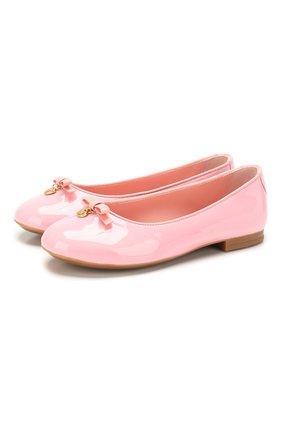 Детские кожаные балетки DOLCE & GABBANA светло-розового цвета, арт. D10341/A1328/29-36 | Фото 1