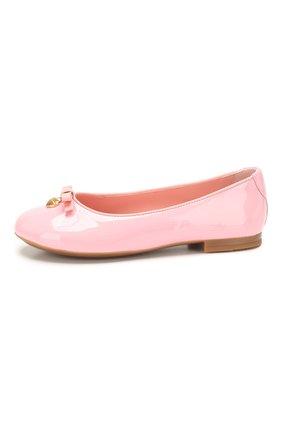 Детские кожаные балетки DOLCE & GABBANA светло-розового цвета, арт. D10341/A1328/29-36 | Фото 2