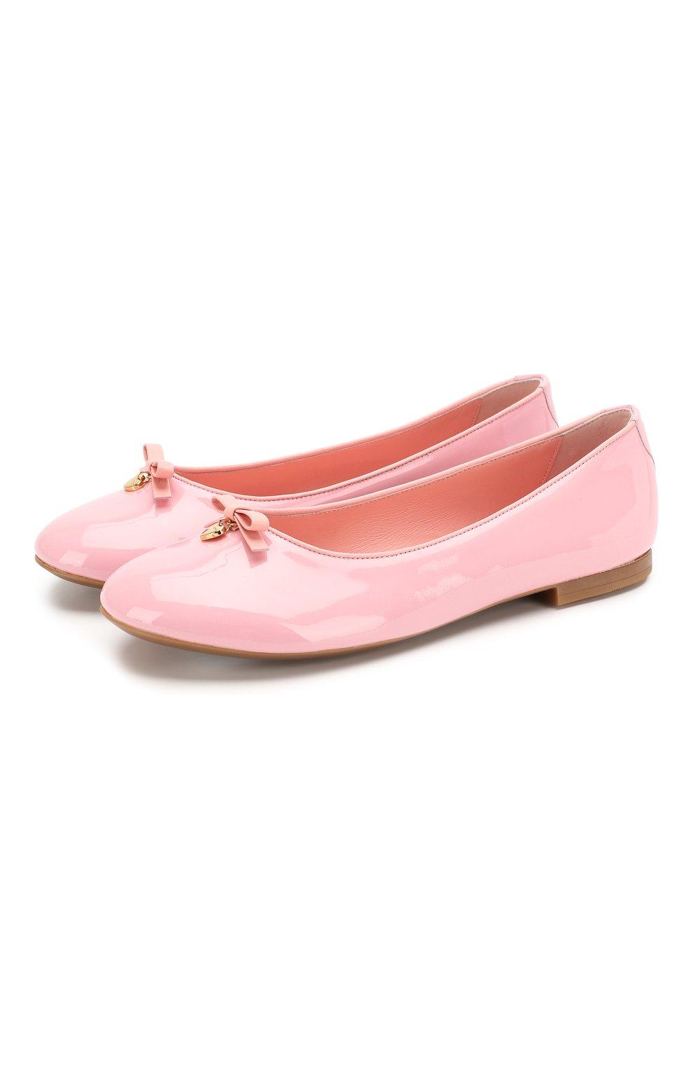 Детские кожаные балетки DOLCE & GABBANA светло-розового цвета, арт. D10341/A1328/37-39 | Фото 1