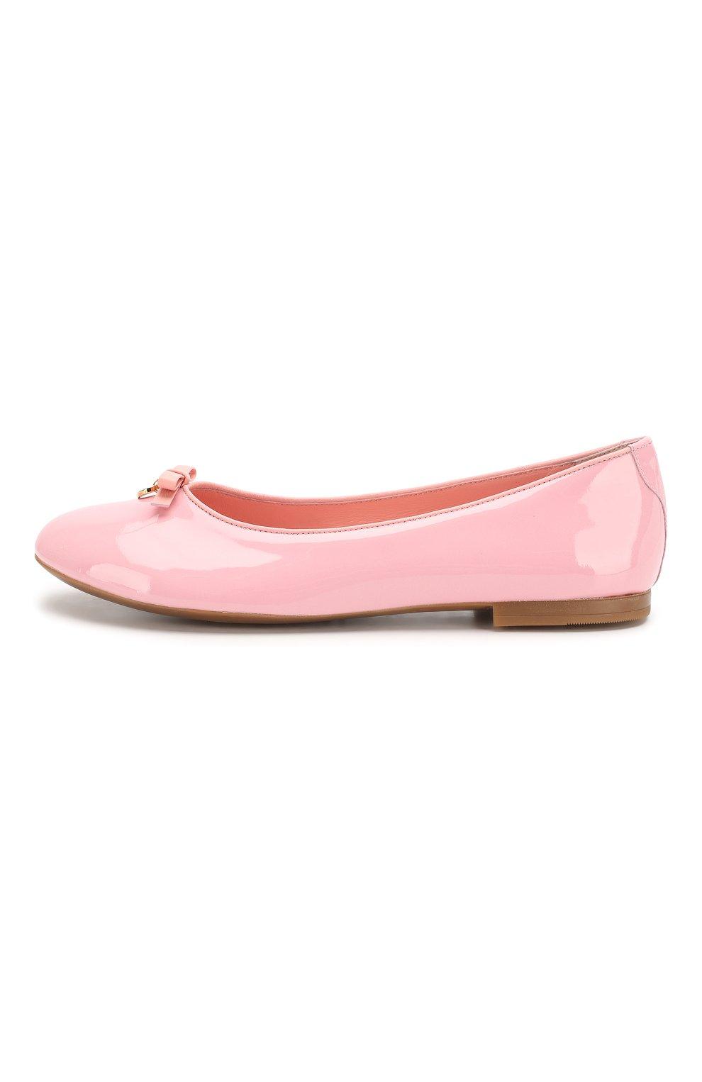 Детские кожаные балетки DOLCE & GABBANA светло-розового цвета, арт. D10341/A1328/37-39 | Фото 2
