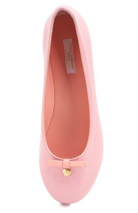 Детские кожаные балетки DOLCE & GABBANA светло-розового цвета, арт. D10341/A1328/37-39 | Фото 4