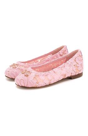 Детские балетки DOLCE & GABBANA розового цвета, арт. D10430/AJ652/24-28 | Фото 1