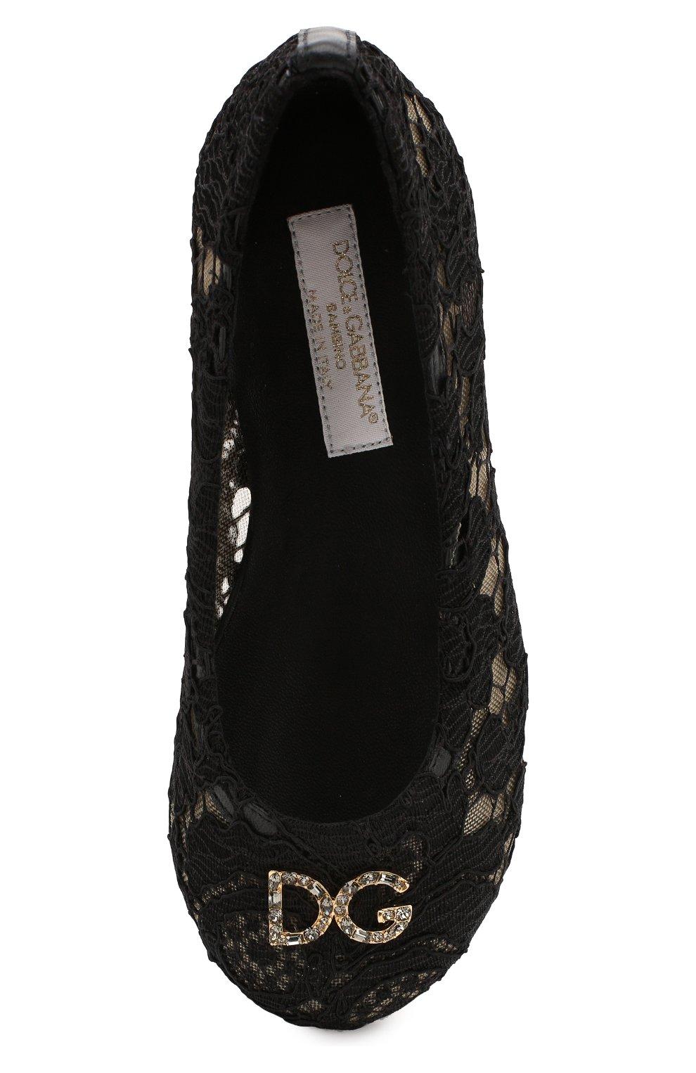 Детские балетки DOLCE & GABBANA черного цвета, арт. D10430/AJ652/24-28 | Фото 4