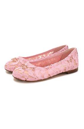 Детские балетки DOLCE & GABBANA розового цвета, арт. D10430/AJ652/29-36 | Фото 1